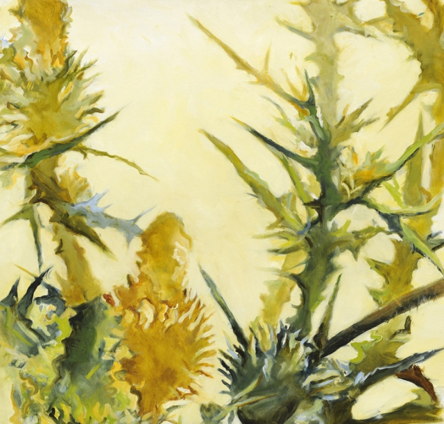 Lorrie Fink Thistle Gold Green 79, 22x23, oc 2013