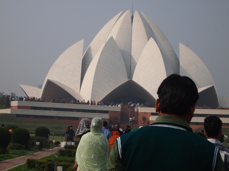 Lotus Temple with People Lined Up to enter
