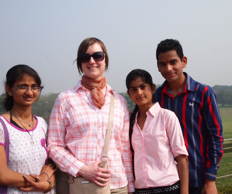 Lenore with new found friends at Lotus Temple
